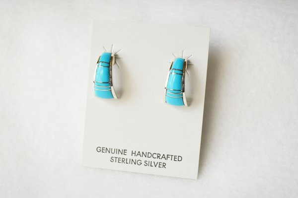 Sterling silver turquoise inlay medium/wider hoop post earrings. E294