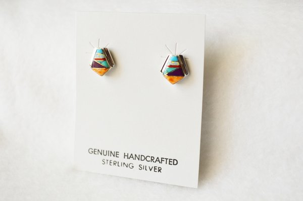 Sterling silver multi color polygon inlay post earrings. E176