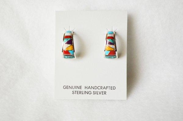Sterling silver multi color medium 1/2 wide hoop post earrings. E275