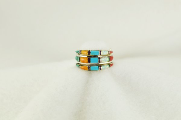 Sterling silver multi color inlay ring. R009