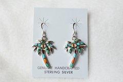 Sterling silver multi color palm tree dangle earrings. E078