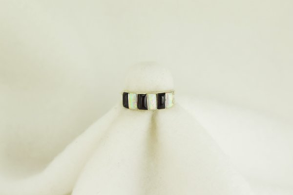 Sterling silver black onyx and white opal inlay ring. R080