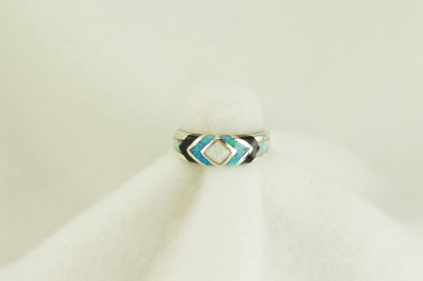 Sterling silver white opal, blue opal and black onyx inlay ring. R108