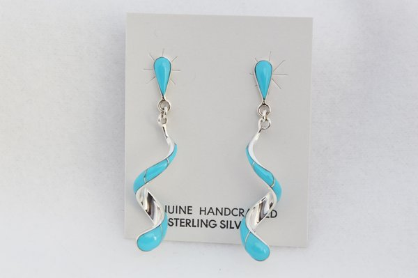 Sterling silver turquoise inlay twisty post earrings. E199