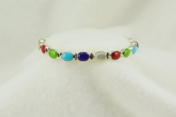 """Sterling silver multi color oval link 7.25"""" bracelet. B110"""