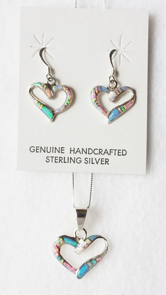 "Sterling silver blue, white and pink opal inlay heart dangle earrings and 18"" sterling silver box chain necklace set. S018"