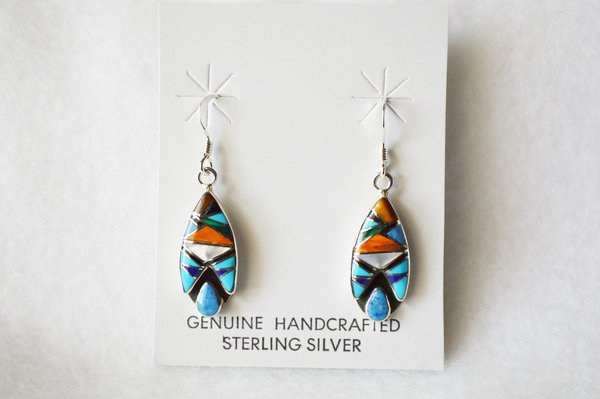Sterling silver multi color inlay with denim lapis teardrop cutout dangle earrings. E215