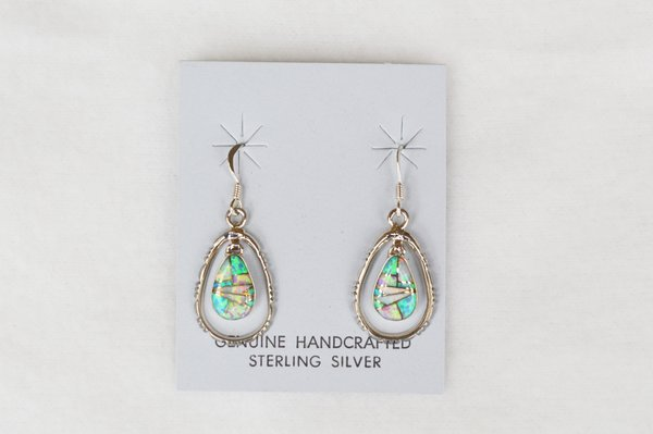 Sterling silver blue, pink and white opal inlay egg shape in silver oval dangle earring. E127