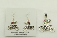 Sterling silver multi color inlay kokopelli on a motorcycle earrings and pendant set. S156