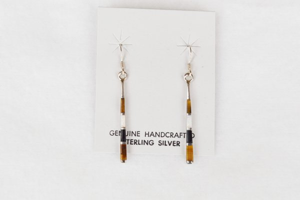 Sterling silver opal, black onyx and tiger eye inlay stick earrings. E120