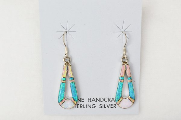 Sterling silver white, blue and pink opal inlay hollow teardrop dangle earrings. E141