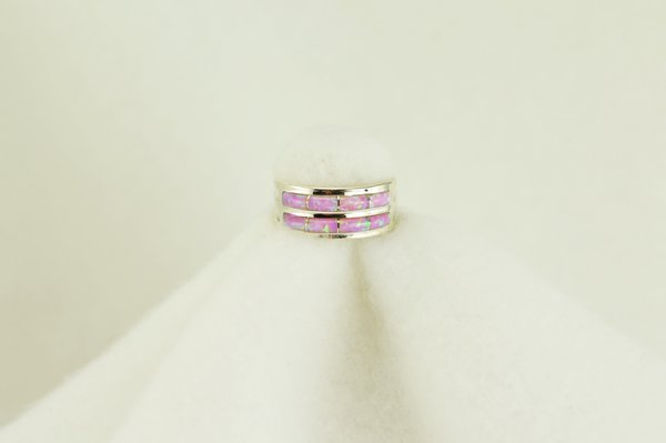 Sterling silver pink opal inlay ring. R103