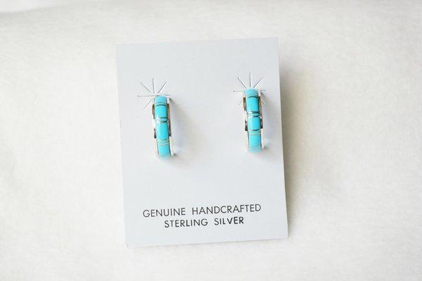 Sterling silver turquoise inlay medium hoop post earrings. E295