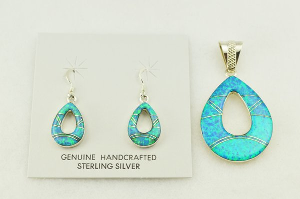 Sterling silver blue opal inlay hollow raindrop earrings and pendant set. S255