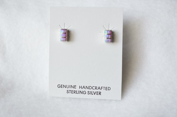 Sterling silver pink opal inlay rectangle post earrings. E192