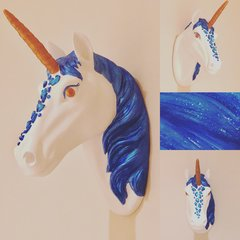 Blue & Bronze Unicorn Head