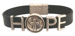 Hope with Cross all leather Bracelet