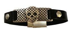 Skull Mesh Design bar with all leather Bracelet