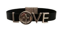 Love with cross all leather Fashion Bracelet