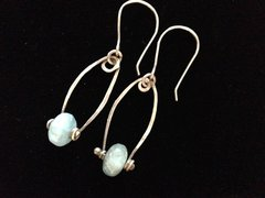 Fine Silver Earrings with Aqua Marine Polished Stones