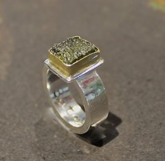 Sterling Silver Ring with Moldevite set in 14K Gold