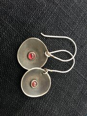 Oxidized Sterling Silver Earrings with Garnets