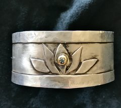 Sterling Silver Lotus Cuff with Montana Sapphire