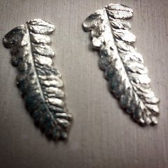 Fine Silver Fern Earings with Sterling Posts