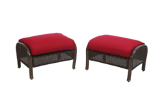 Cedar Island All-Weather Wicker Patio Ottomans with Chili Cushions (2-Pack)