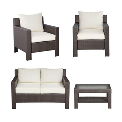 Beverly 4-Piece Patio Deep Seating Set with Cushion Insert