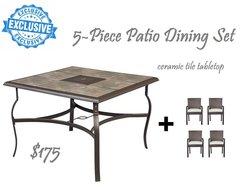 EXCLUSIVE 5-Piece Outdoor Dining Ceramic tile tabletop Set