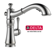 Delta Cassidy Single-Handle Pull-Out Sprayer Kitchen Faucet in Arctic Stainless - 4197-AR-DST