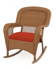 Charlottetown Natural All-Weather Wicker Patio Rocking Chair with Quarry Red Cushion