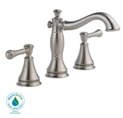 Delta Cassidy 8 in. Widespread 2-Handle Bathroom Faucet with Metal Drain Assembly in Stainless - 3597LF-SSMPU