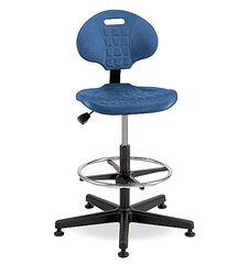 """BEVCO Blue Polyurethane Task Chair 12-1/2"""" Back Height, Arm Style: No Arms - 7500 BLUE"""