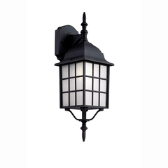 Bel Air Lighting Cityscape 1-Light Black Coach Lantern with Frosted Glass - 4420-1 BK