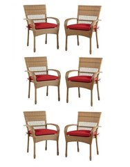 Charlottetown Natural All-Weather Wicker 6-Piece Patio Dining Chairs with Quarry Red Cushion