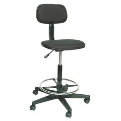 """Black Fabric Drafting Chair 9-1/2"""" Back Height, Arm Style: No Arms - 1FAV3"""