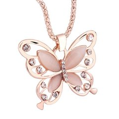 Rose Gold Opal Butterfly Charm Pendant