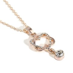 Rose Gold Double Heart Cubic Zirconia Necklace