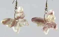 Dark Pink & White Butterfly Glass Earrings