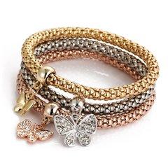 Multilayer Butterfly Crystal Charm Stretch Bracelet
