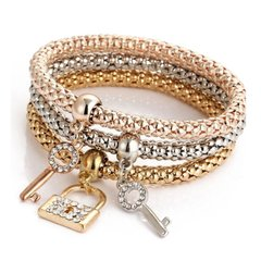 Multilayer Keylock Crystal Charm Stretch Bracelet