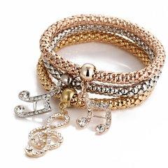 Multilayer Music Note Crystal Charm Stretch Bracelet
