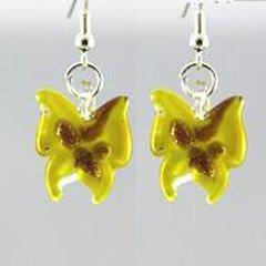 Yellow Butterfly Glass Earrings