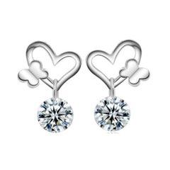 Sterling Silver Heart Butterfly Earrings