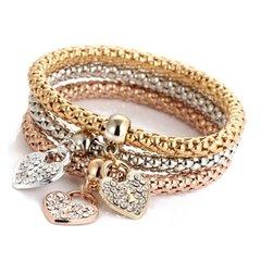 Multilayer Heart Crystal Charm Stretch Bracelet