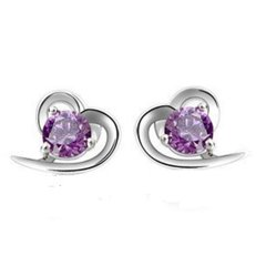 Heart Shaped Amethyst Stud Earrings