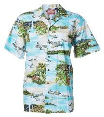 Hawaiian Shirt Aqua South Pacific - 100% cotton