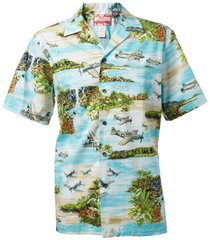 South Pacific Hawaiian Shirt Blue - 100% cotton